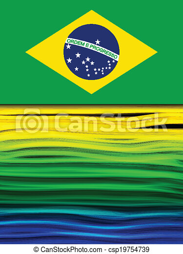 Brazil Flag Wave Yellow Green Blue Background - csp19754739