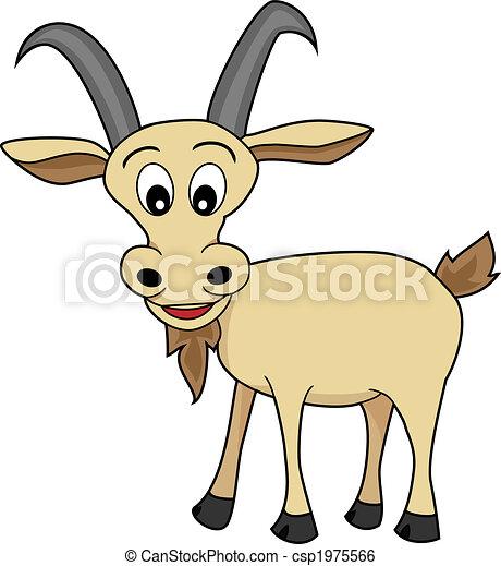 Cute Illustration of A Happy Looking cartoon goat - csp1975566