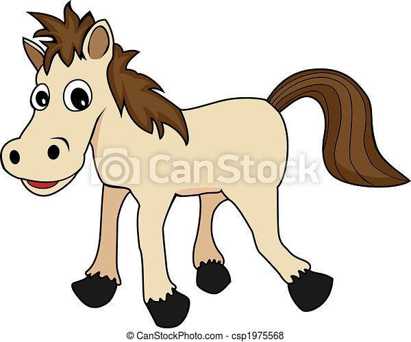 illustration of a cute happy looking cartoon brown horse - csp1975568