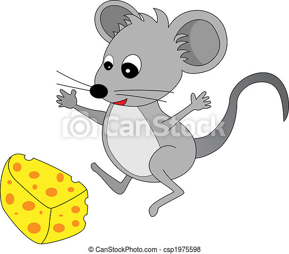 A happy cute looking grey cartoon mouse found some cheese - csp1975598