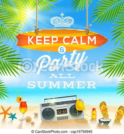 Summer vacation illustration - csp19756945