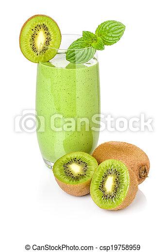 Green smoothie with kiwi - csp19758959