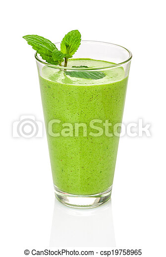 Green smoothie with mint - csp19758965