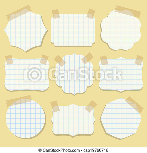 Shapes of note paper with tape. - csp19760716