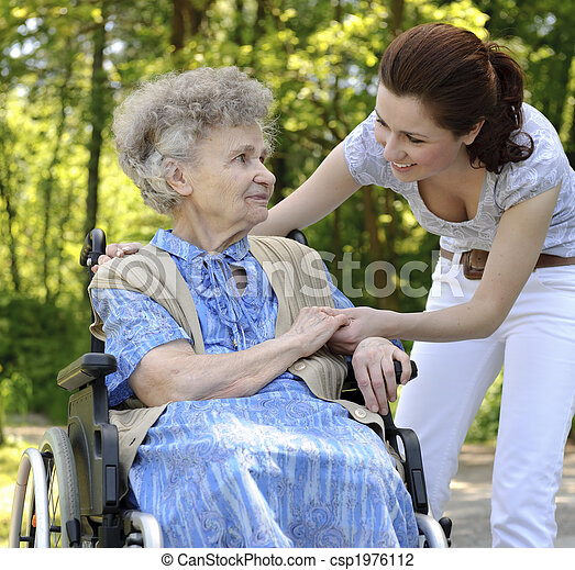 photo de personne agee femme fauteuil roulant elle petite fille csp1976112 recherchez des. Black Bedroom Furniture Sets. Home Design Ideas