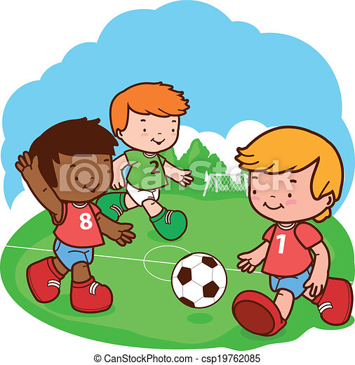 Boy Playing Soccer Drawing Vector Kids Playing Soccer