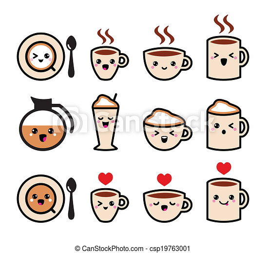 Vector Clipart of Cute coffee kawaii icons - Coffee icons set isolated ...