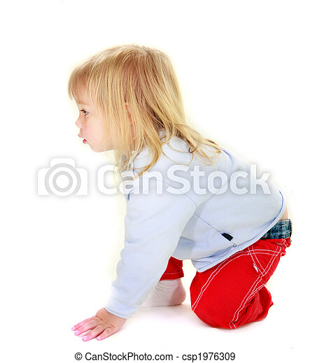 curious toddler girl over white - csp1976309