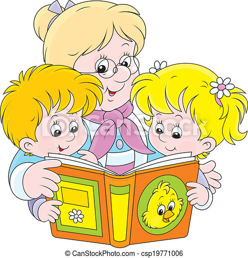 Vector Clipart Of Grandma And Grandchildren Reading