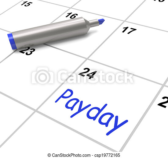 Stock Illustration of Payday Calendar Shows Salary Or Wages For ...