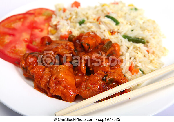 Chicken sweet and sour with rice - csp1977525