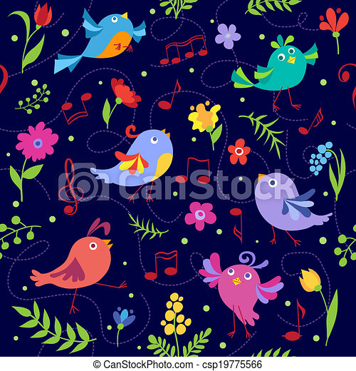 Cute spring musical birds seamless pattern blue - csp19775566