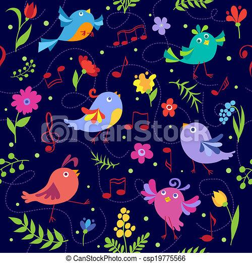 Cute spring musical birds seamless pattern blue - csp19775566