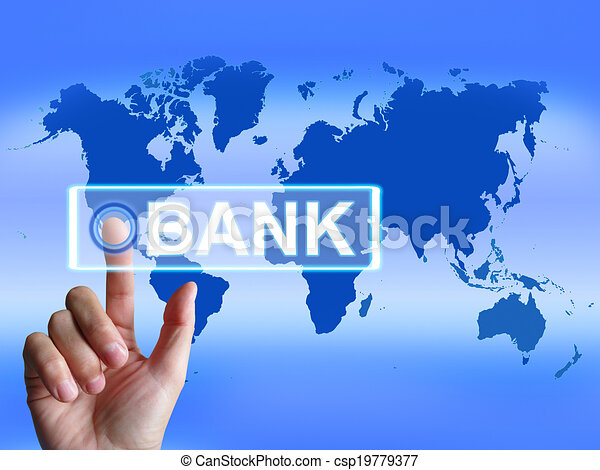 Bank Map Indicates Online and Internet Banking - csp19779377