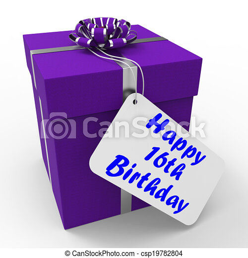 Happy 16th Birthday Gift Means Congratulations Age Sixteen - csp19782804