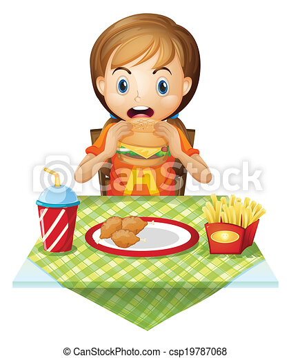 clip art vecteur de fastfood  enfant mange  restaurant hamburger clip art free hamburger clip art black and white image