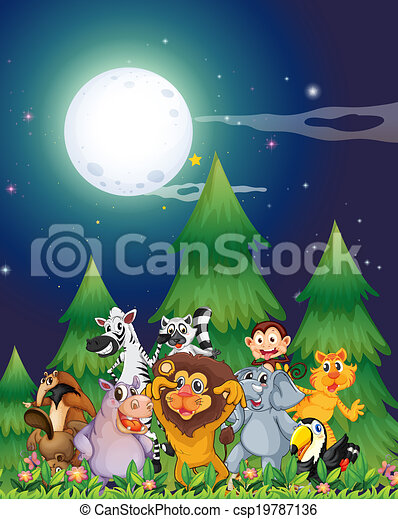 Animals near the pine trees under the bright fullmoon - csp19787136
