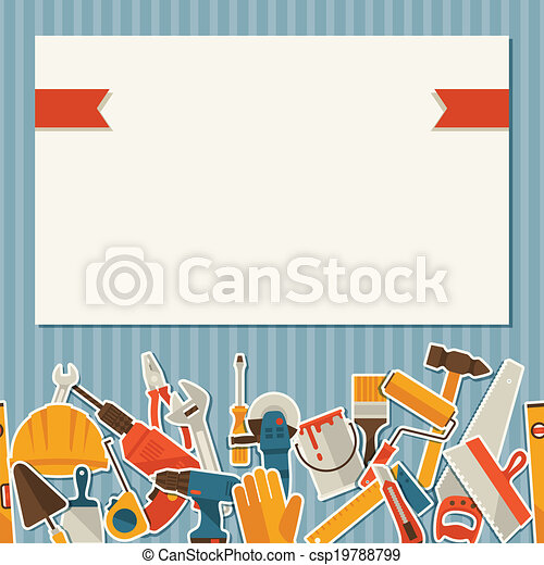 Repair and construction illustration with working tools icons. - csp19788799