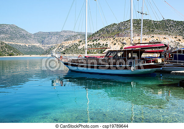 Sail yacht in harbor on Turkish resort, Antalya, Turkey - csp19789644