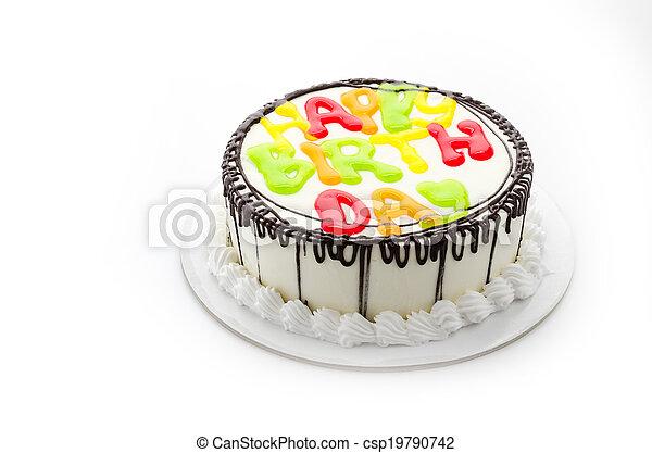 Happy birthday cake isolated on white - csp19790742