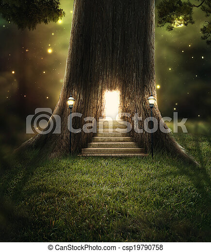 ... Enchanted forest. - A tree in the forest with a door glowing. & Enchanted Stock Photos and Images. 16344 Enchanted pictures and ... Pezcame.Com