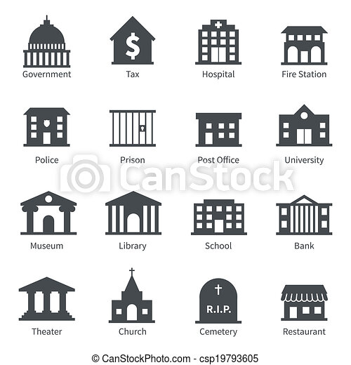 Government buildings icons - csp19793605