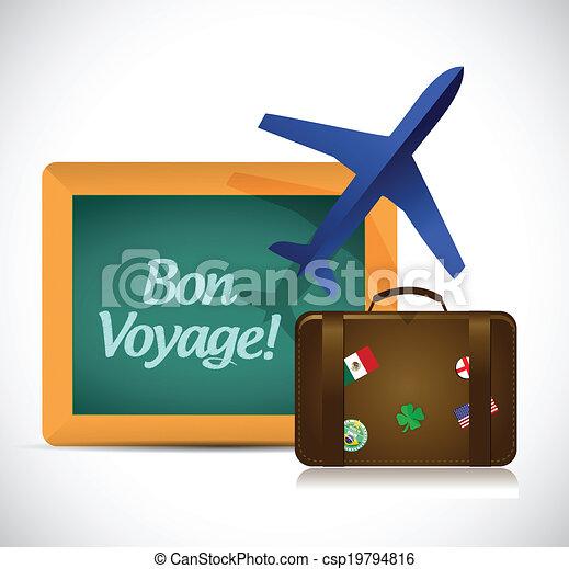 Bon Voyage Or Safe Trip Travel Vector Illustration