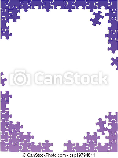 Eps Vector Of Purple Puzzle Pieces Border Template
