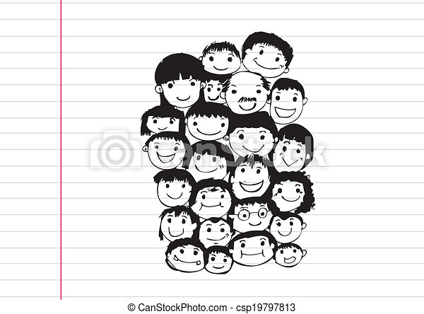Face people sketch Crowd of funny peoples - csp19797813