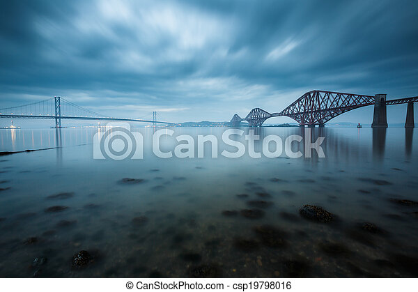 Forth bridges in Edinburgh, Scotland - csp19798016