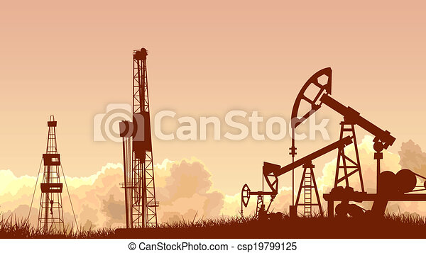 Sunset with units for oil industry. - csp19799125