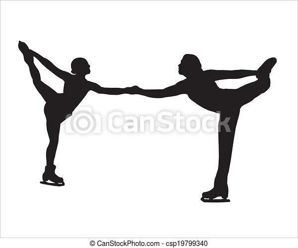 EPS Vector of the silhouette of figure skaters - figure skating ...