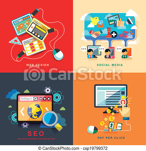 flat web design, seo, social media, pay per click - csp19799372