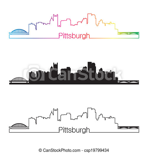 Pittsburgh Skyline Drawing Pittsburgh Skyline Linear