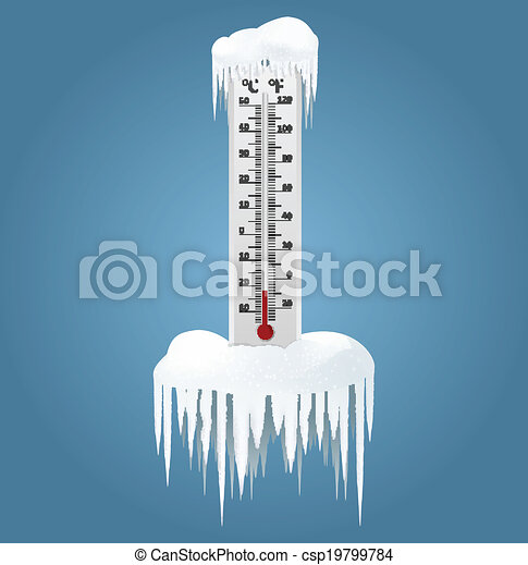 Vector of Frozen thermometer - Vector image of an Frozen ...