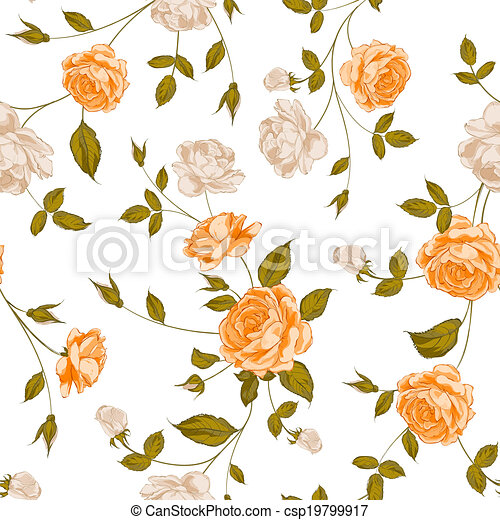 Roses, floral background, seamless pattern. - csp19799917