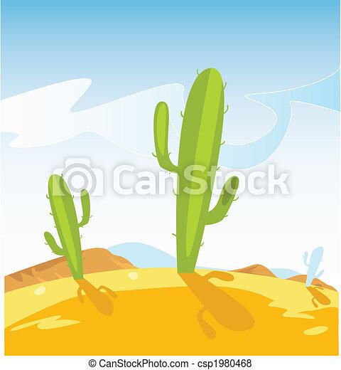 Western desert with Cactus plants - csp1980468