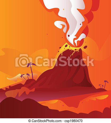 Volcano with burning lava - csp1980470