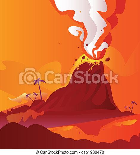 Volcano with burning lava - csp1980470