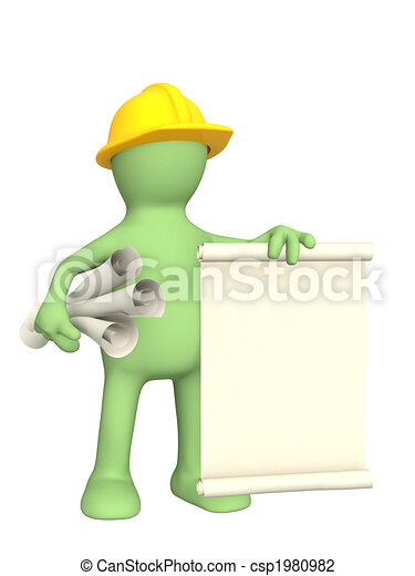 3d builder with rolls of documents - csp1980982