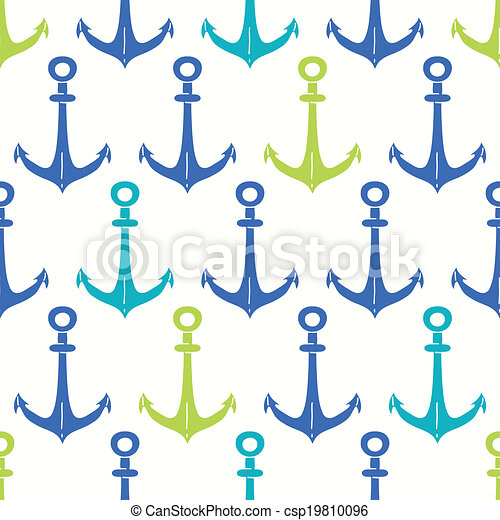 Anchors blue and green seamless pattern backgound - csp19810096