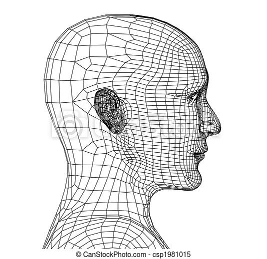 Head of the person from a 3d grid - csp1981015