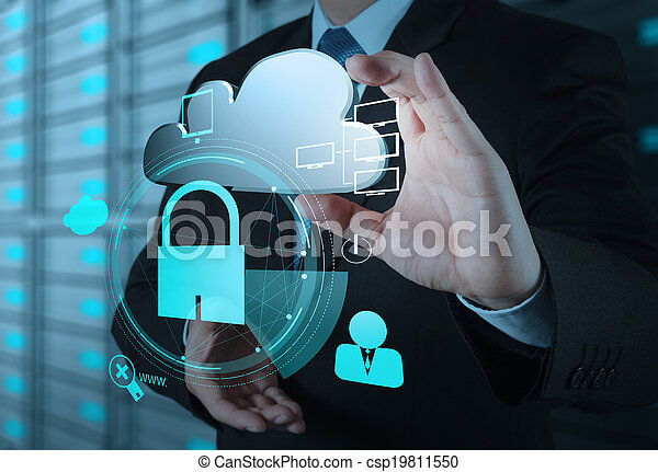 businessman hand show 3d cloud icon with padlock as Internet security online business concept  - csp19811550