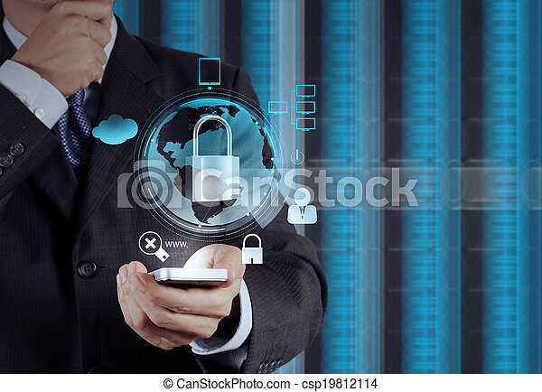 businessman hand pointing to padlock on touch screen computer as Internet security online business concept  - csp19812114
