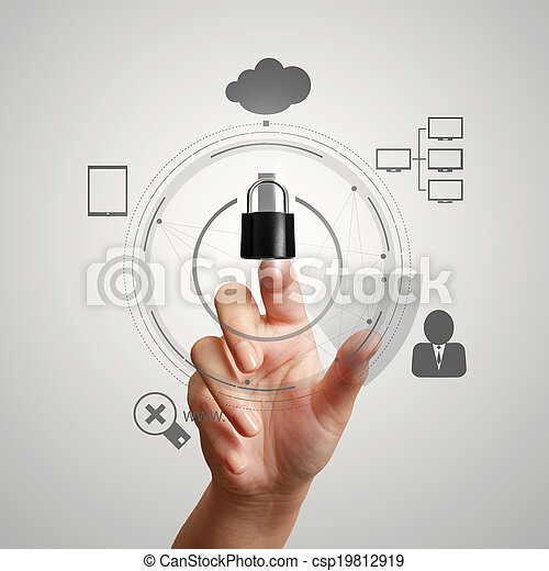 hand pointing to 3d padlock on touch screen computer as Internet security online business concept - csp19812919
