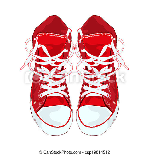 Red sneakers on white background. Vector illustration. - csp19814512