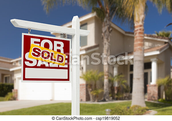 Sold Home For Sale Sign in Front of New House - csp19819052
