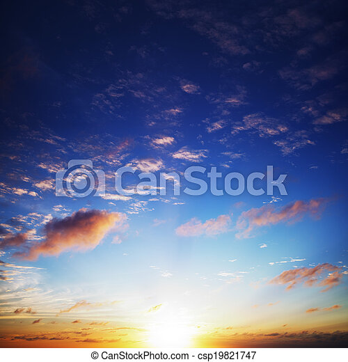 View of an amazing sunset sky. Square composition. - csp19821747