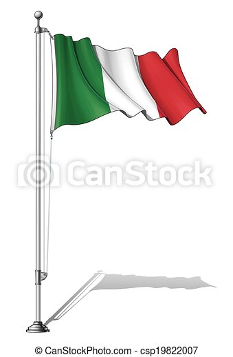 Vector Clipart of Flag Pole Italy - Vector Illustration of a ...