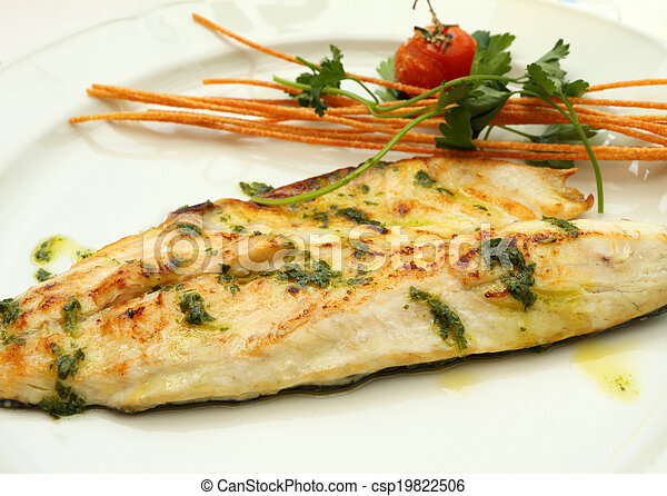 Stock Photo - Grilled sea bass Fish Fillet plate ,serving in italian ...